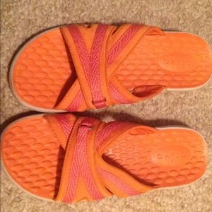 Women's orange leather upper Privo sandals sz. 6M